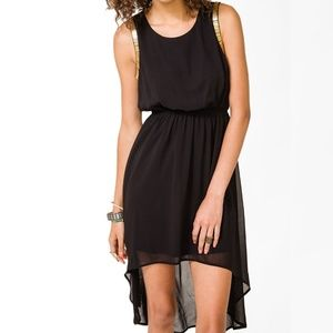 Forever21 Black Hi-Low Profile Dress w/ gold Sz S